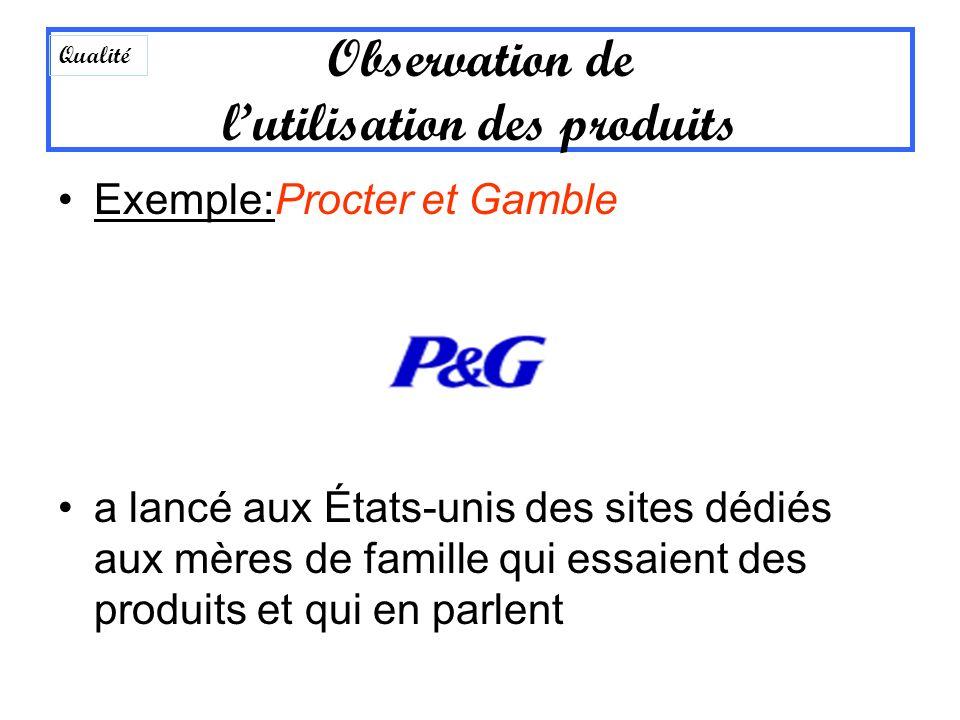 Exemple:Procter et Gamble a lancé aux États-unis des sites dédiés aux mères de famille qui essaient des produits et qui en parlent Observation de luti