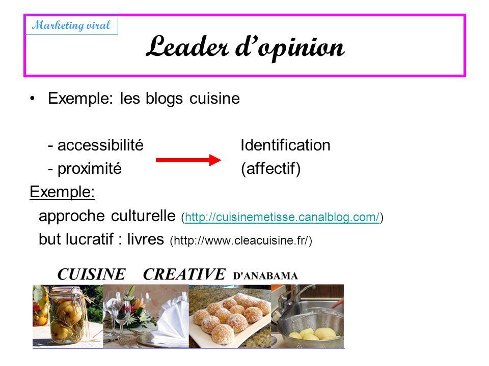 Leader dopinion Exemple: les blogs cuisine - accessibilité Identification - proximité (affectif) Exemple: approche culturelle (http://cuisinemetisse.c