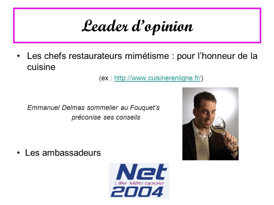 Leader dopinion Les chefs restaurateurs mimétisme : pour lhonneur de la cuisine (ex : http://www.cuisinerenligne.fr/)http://www.cuisinerenligne.fr/ Em
