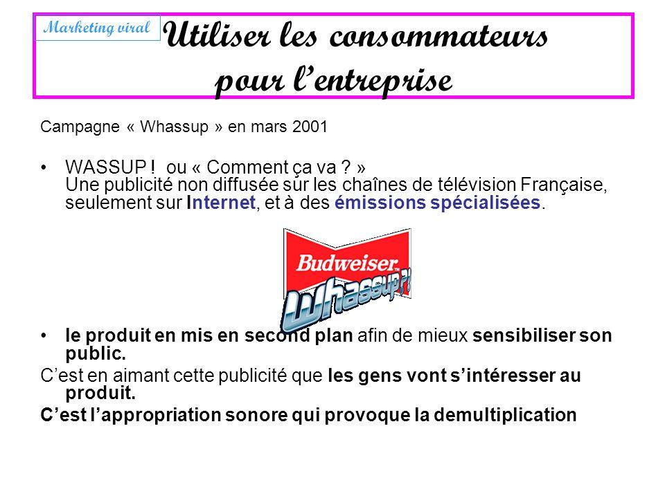 Campagne « Whassup » en mars 2001 WASSUP ! ou « Comment ça va ? » Une publicité non diffusée sur les chaînes de télévision Française, seulement sur In