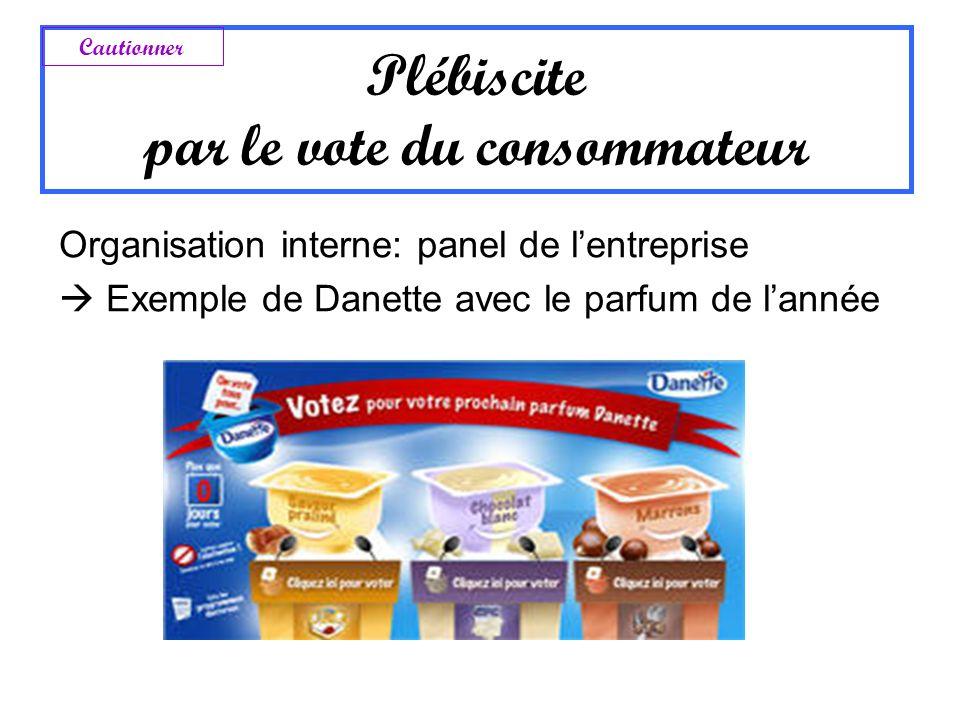 Plébiscite par le vote du consommateur Organisation interne: panel de lentreprise Exemple de Danette avec le parfum de lannée Cautionner