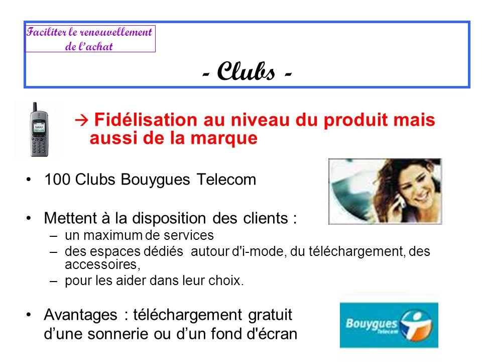 Fidélisation au niveau du produit mais aussi de la marque 100 Clubs Bouygues Telecom Mettent à la disposition des clients : –un maximum de services –d
