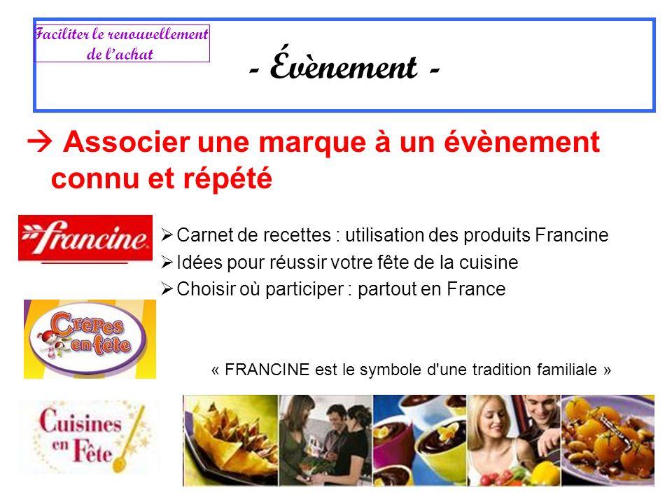 Associer une marque à un évènement connu et répété Carnet de recettes : utilisation des produits Francine Idées pour réussir votre fête de la cuisine