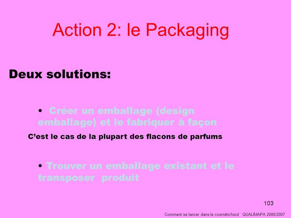 103 Action 2: le Packaging Deux solutions: Créer un emballage (design emballage) et le fabriquer à façon Cest le cas de la plupart des flacons de parfums Trouver un emballage existant et le transposer produit Comment se lancer dans le cosmétofood QUALIMAPA 2006/2007