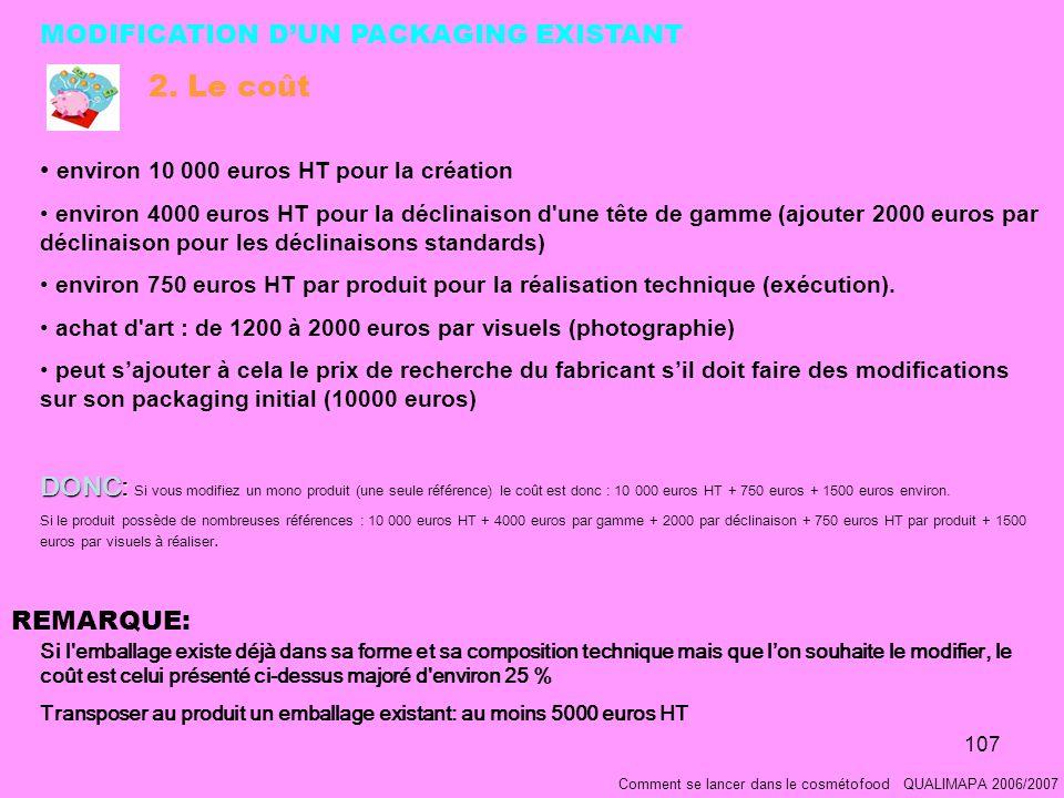 107 Comment se lancer dans le cosmétofood QUALIMAPA 2006/2007 environ 10 000 euros HT pour la création environ 4000 euros HT pour la déclinaison d une tête de gamme (ajouter 2000 euros par déclinaison pour les déclinaisons standards) environ 750 euros HT par produit pour la réalisation technique (exécution).