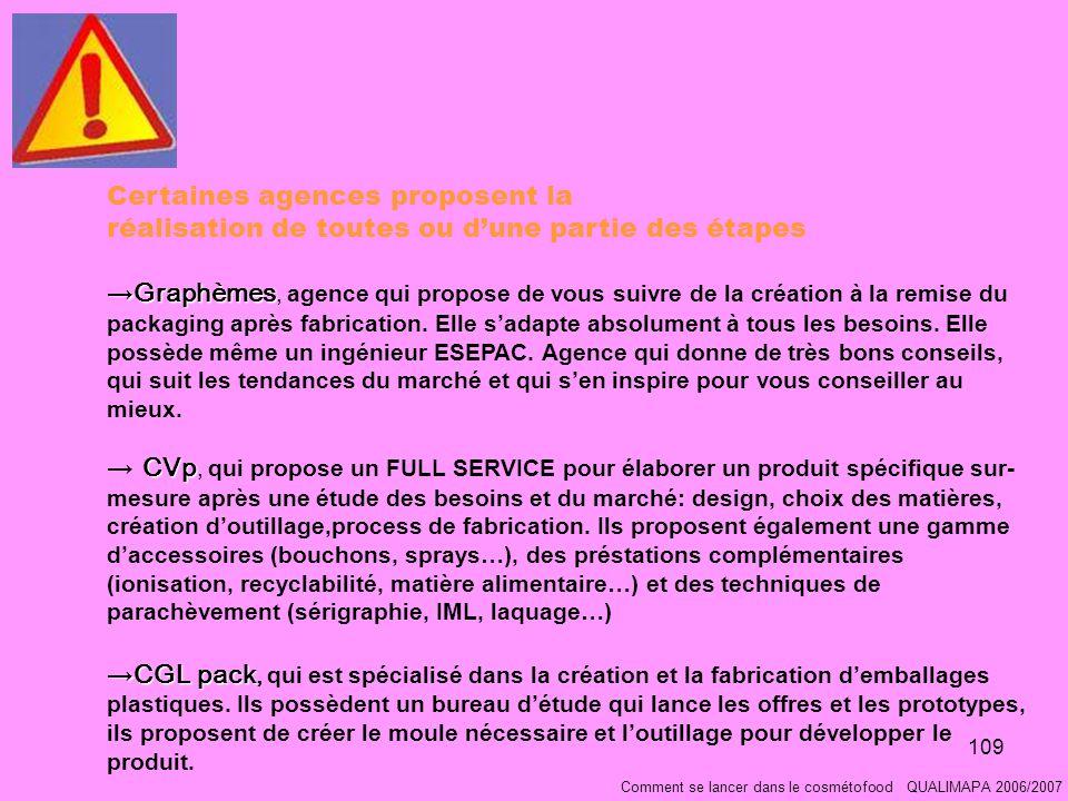 109 Comment se lancer dans le cosmétofood QUALIMAPA 2006/2007 Certaines agences proposent la réalisation de toutes ou dune partie des étapes GraphèmesGraphèmes, agence qui propose de vous suivre de la création à la remise du packaging après fabrication.