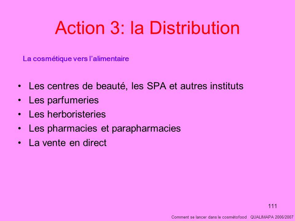 111 Action 3: la Distribution Les centres de beauté, les SPA et autres instituts Les parfumeries Les herboristeries Les pharmacies et parapharmacies La vente en direct La cosmétique vers lalimentaire Comment se lancer dans le cosmétofood QUALIMAPA 2006/2007