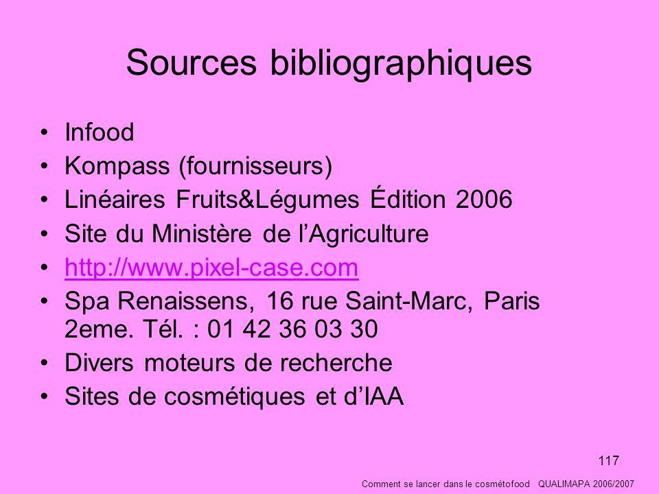 117 Sources bibliographiques Infood Kompass (fournisseurs) Linéaires Fruits&Légumes Édition 2006 Site du Ministère de lAgriculture http://www.pixel-case.com Spa Renaissens, 16 rue Saint-Marc, Paris 2eme.