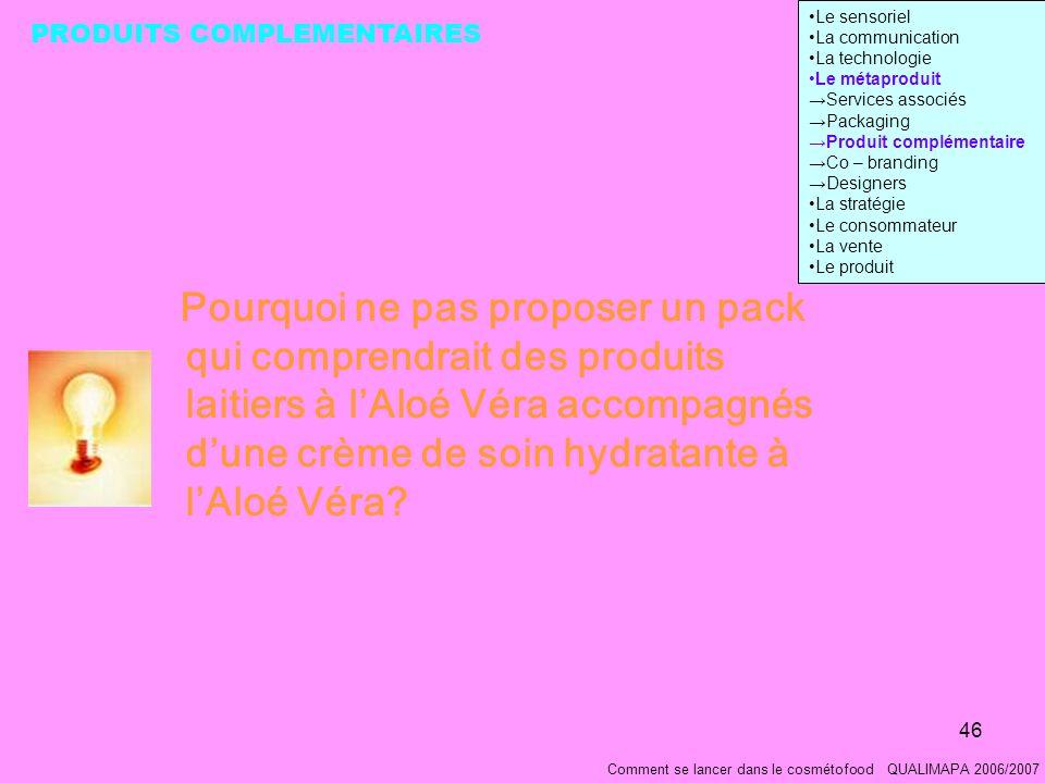 46 Comment se lancer dans le cosmétofood QUALIMAPA 2006/2007 Pourquoi ne pas proposer un pack qui comprendrait des produits laitiers à lAloé Véra accompagnés dune crème de soin hydratante à lAloé Véra.