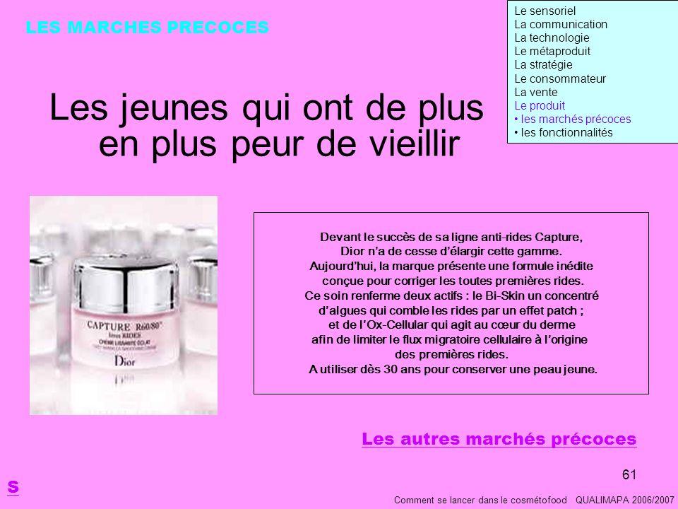 61 Les jeunes qui ont de plus en plus peur de vieillir Comment se lancer dans le cosmétofood QUALIMAPA 2006/2007 LES MARCHES PRECOCES Devant le succès de sa ligne anti-rides Capture, Dior na de cesse délargir cette gamme.