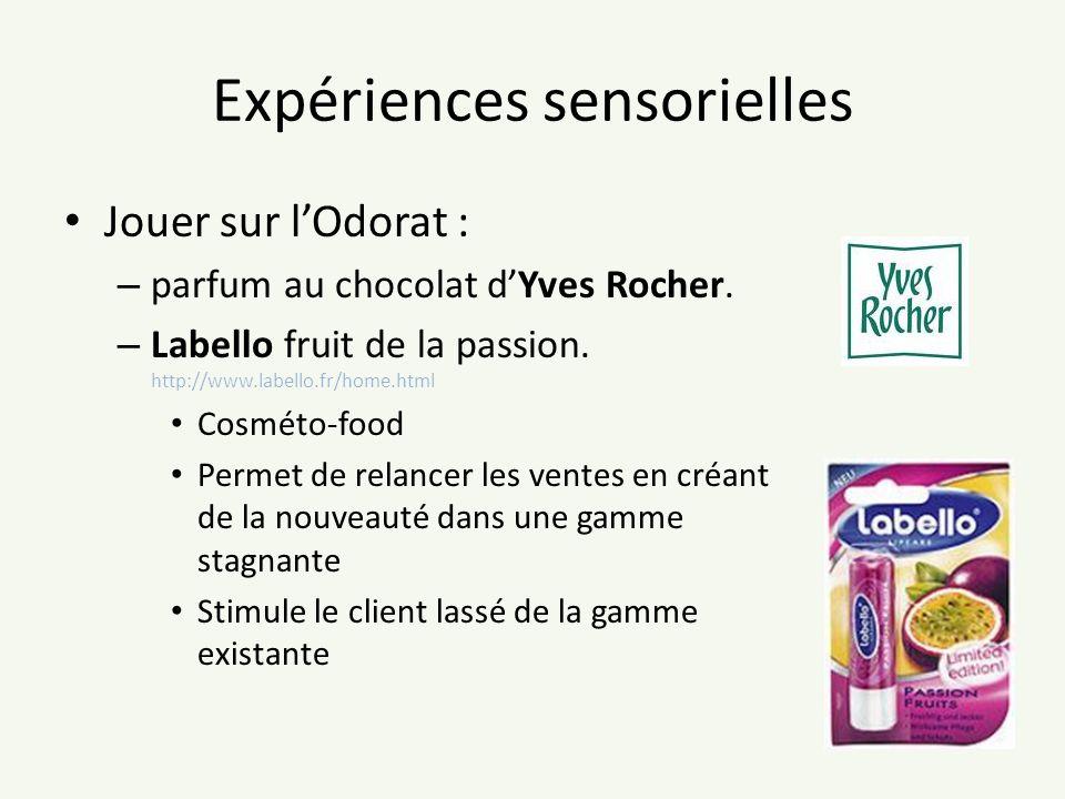 Expériences sensorielles Jouer sur lOdorat : – parfum au chocolat dYves Rocher. – Labello fruit de la passion. http://www.labello.fr/home.html Cosméto