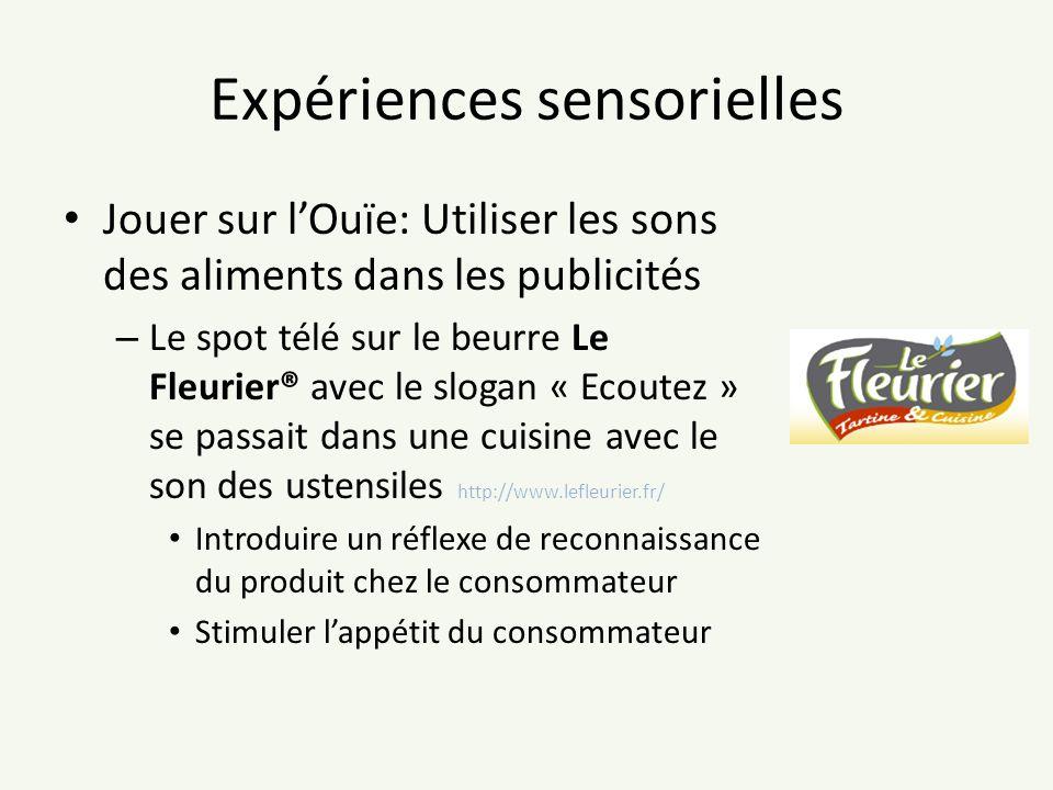 Expériences sensorielles Jouer sur lOuïe: Utiliser les sons des aliments dans les publicités – Le spot télé sur le beurre Le Fleurier® avec le slogan
