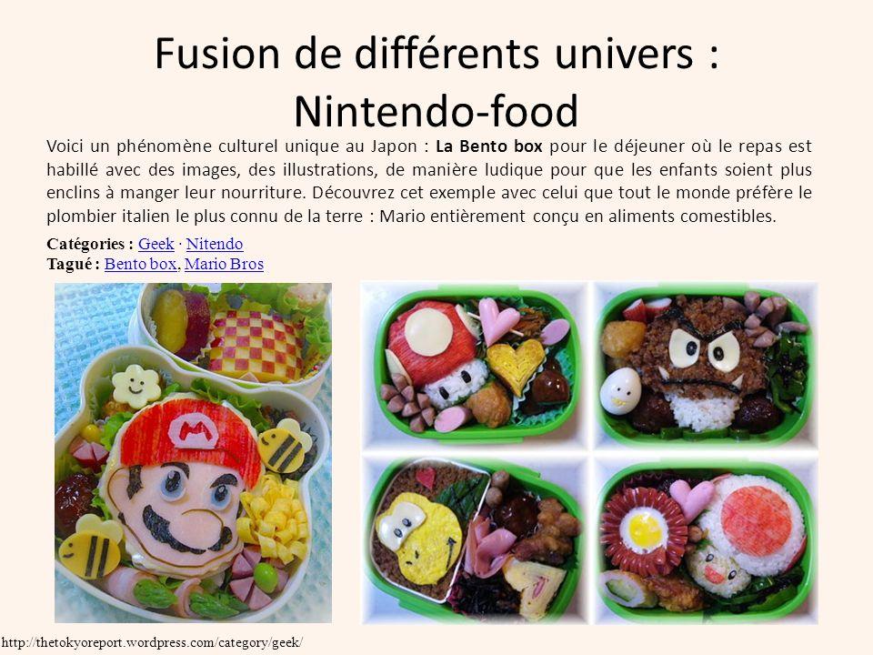 Fusion de différents univers : Nintendo-food Voici un phénomène culturel unique au Japon : La Bento box pour le déjeuner où le repas est habillé avec