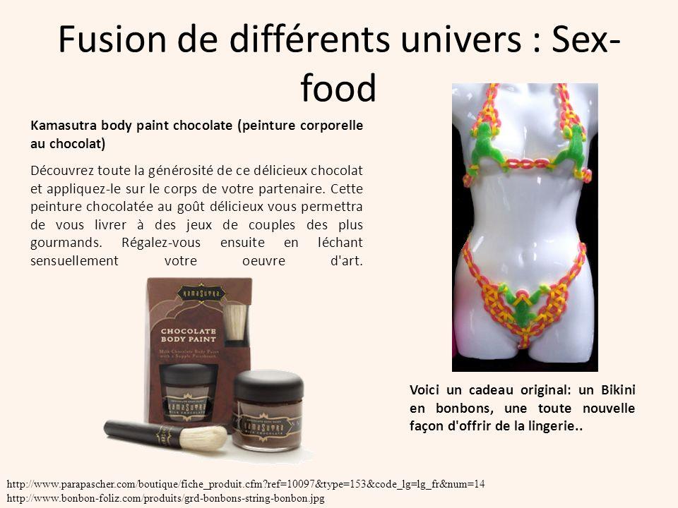 Fusion de différents univers : Sex- food Kamasutra body paint chocolate (peinture corporelle au chocolat) Découvrez toute la générosité de ce délicieu
