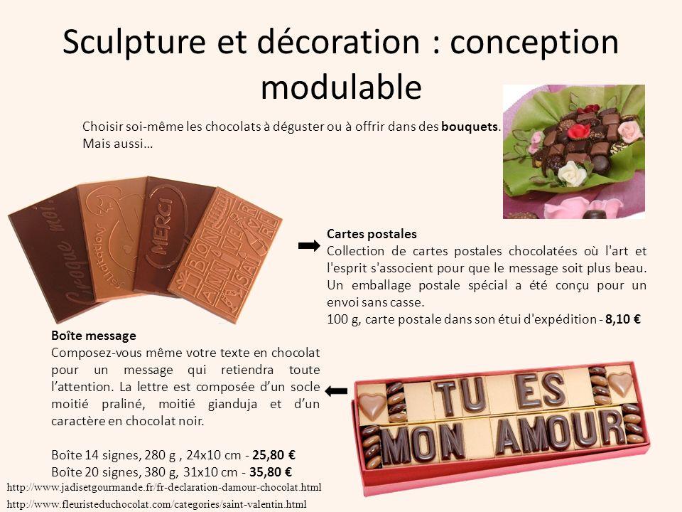 Sculpture et décoration : conception modulable http://www.jadisetgourmande.fr/fr-declaration-damour-chocolat.html http://www.fleuristeduchocolat.com/c