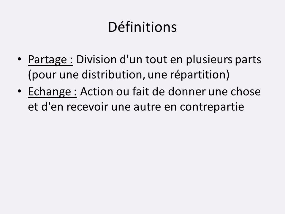 Définitions Partage : Division d'un tout en plusieurs parts (pour une distribution, une répartition) Echange : Action ou fait de donner une chose et d