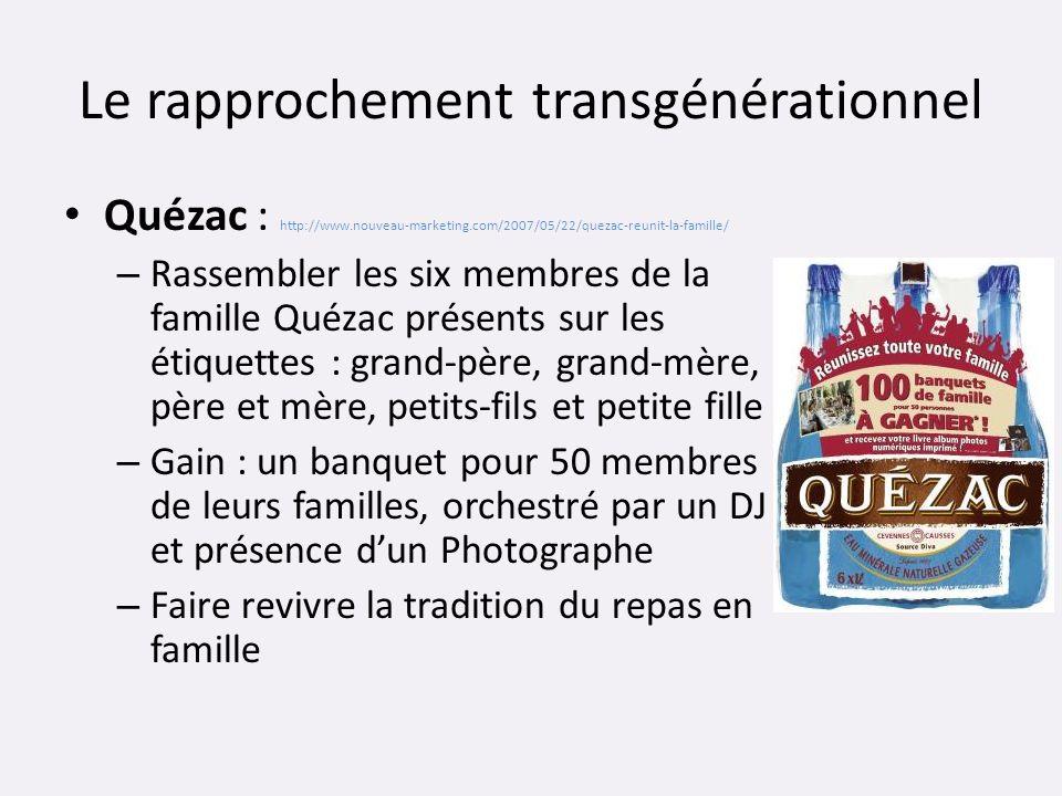 Le rapprochement transgénérationnel Quézac : http://www.nouveau-marketing.com/2007/05/22/quezac-reunit-la-famille/ – Rassembler les six membres de la