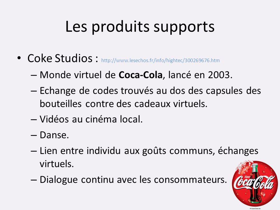 Les produits supports Coke Studios : http://www.lesechos.fr/info/hightec/300269676.htm – Monde virtuel de Coca-Cola, lancé en 2003. – Echange de codes