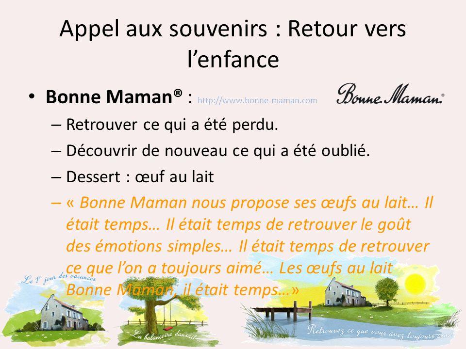 Appel aux souvenirs : Retour vers lenfance Bonne Maman® : http://www.bonne-maman.com – Retrouver ce qui a été perdu. – Découvrir de nouveau ce qui a é