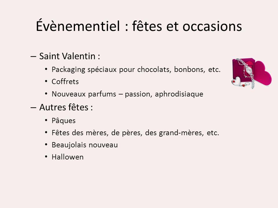 Évènementiel : fêtes et occasions – Saint Valentin : Packaging spéciaux pour chocolats, bonbons, etc. Coffrets Nouveaux parfums – passion, aphrodisiaq