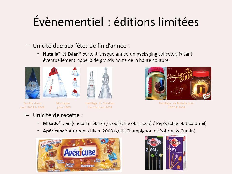 Évènementiel : éditions limitées – Unicité due aux fêtes de fin dannée : Nutella® et Evian® sortent chaque année un packaging collector, faisant évent