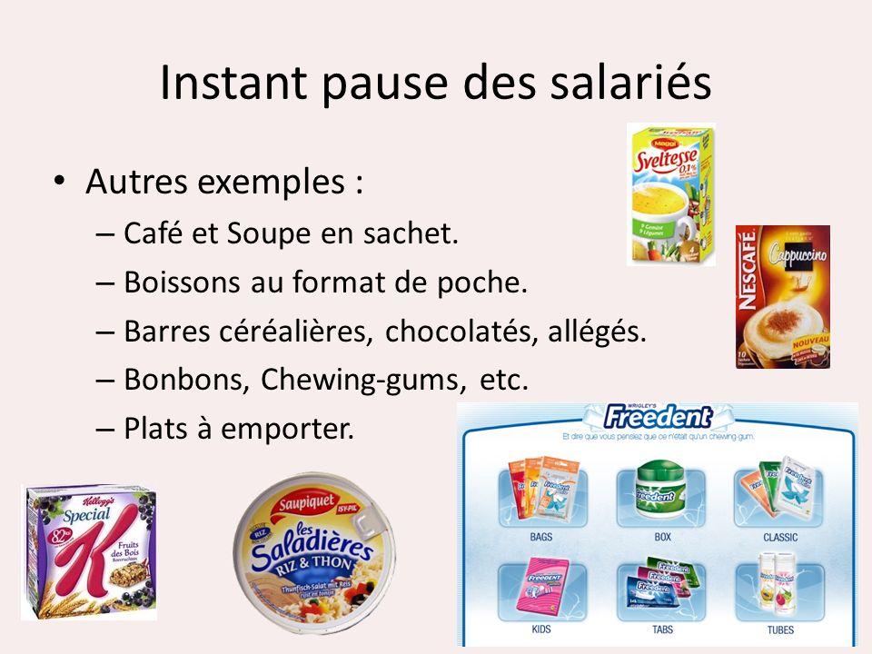 Instant pause des salariés Autres exemples : – Café et Soupe en sachet. – Boissons au format de poche. – Barres céréalières, chocolatés, allégés. – Bo