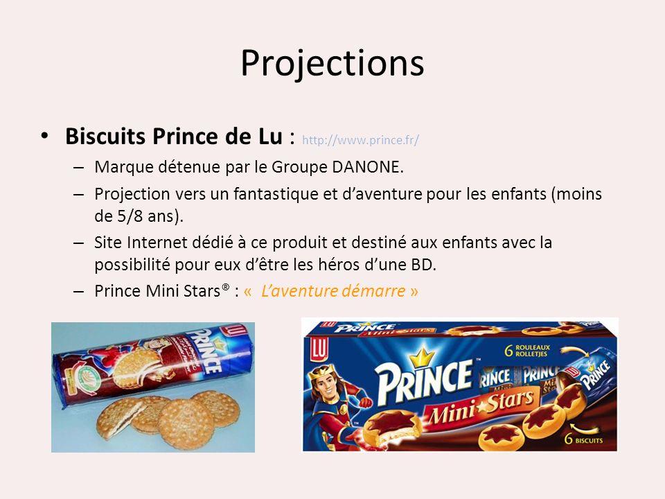 Projections Biscuits Prince de Lu : http://www.prince.fr/ – Marque détenue par le Groupe DANONE. – Projection vers un fantastique et daventure pour le