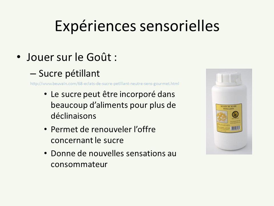 Expériences sensorielles Jouer sur le Goût : – Sucre pétillant http://www.beuvain.com/68-eclats-de-sucre-petillant-neutre-sens-gourmet.html Le sucre p