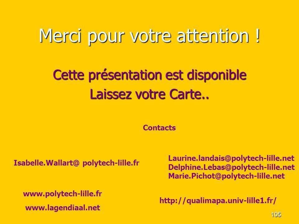 105 Merci pour votre attention ! Cette présentation est disponible Laissez votre Carte.. Contacts Isabelle.Wallart@ polytech-lille.fr www.polytech-lil