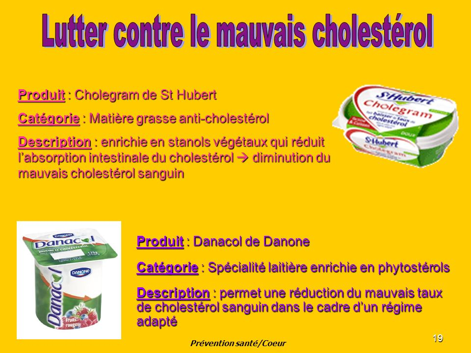 19 Produit : Danacol de Danone Catégorie : Spécialité laitière enrichie en phytostérols Description : permet une réduction du mauvais taux de cholesté