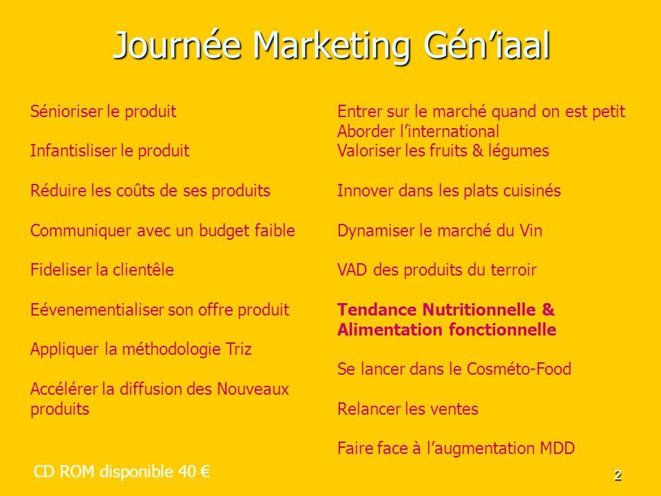 2 Journée Marketing Géniaal Sénioriser le produit Infantisliser le produit Réduire les coûts de ses produits Communiquer avec un budget faible Fidelis