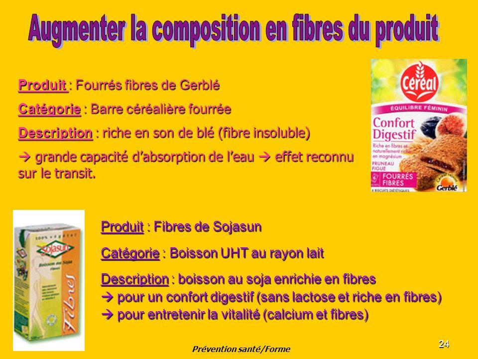 24 Produit : Fibres de Sojasun Catégorie : Boisson UHT au rayon lait Description : boisson au soja enrichie en fibres pour un confort digestif (sans l