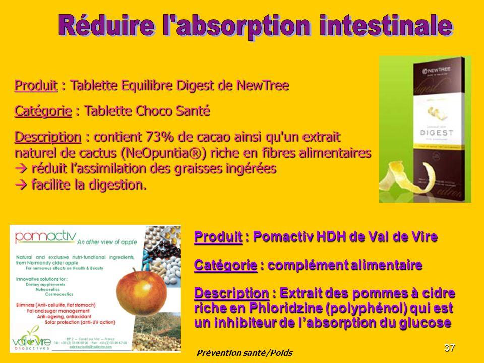 37 Produit : Pomactiv HDH de Val de Vire Catégorie : complément alimentaire Description : Extrait des pommes à cidre riche en Phloridzine (polyphénol)
