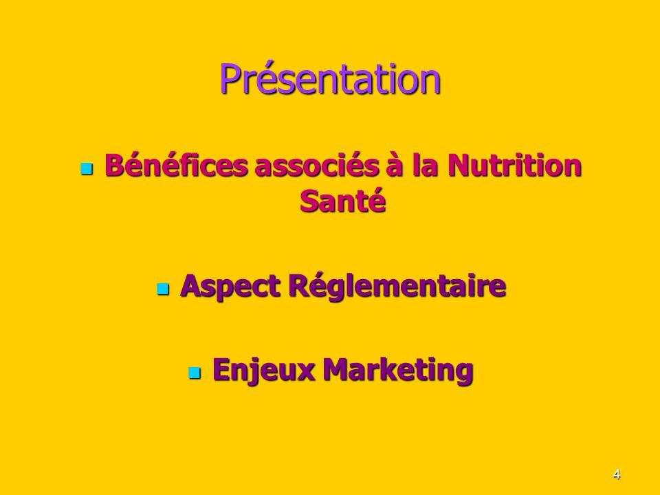 4 Présentation Bénéfices associés à la Nutrition Santé Bénéfices associés à la Nutrition Santé Aspect Réglementaire Aspect Réglementaire Enjeux Market