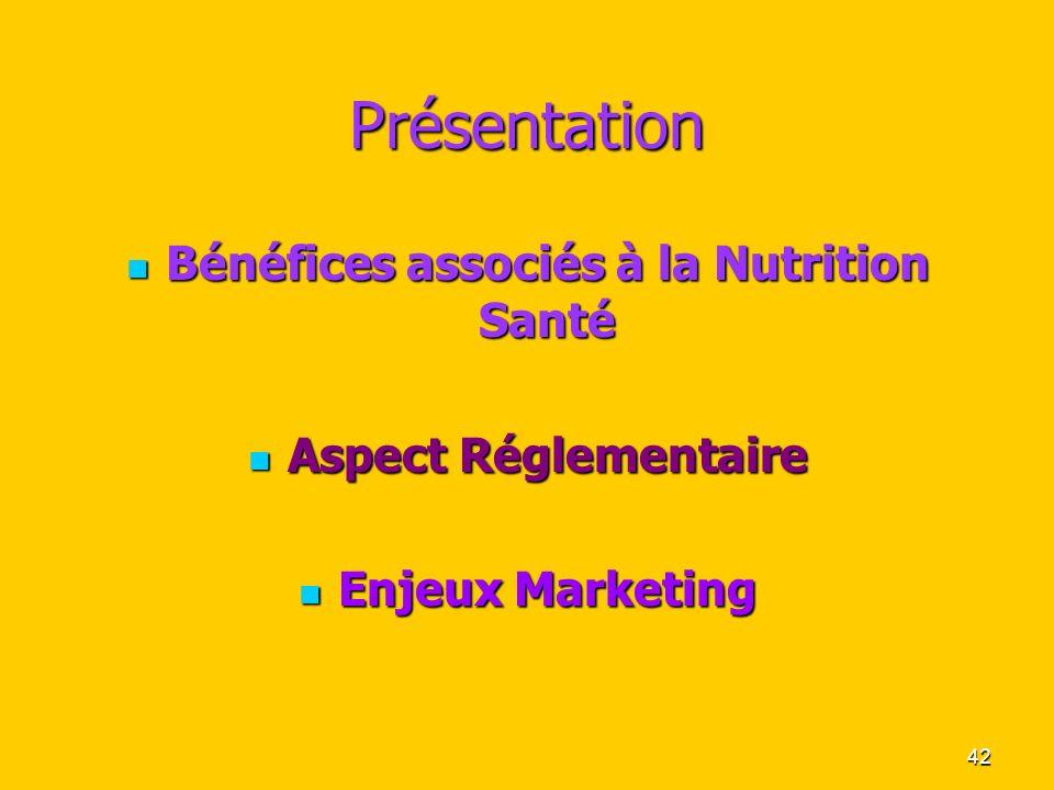 42 Présentation Bénéfices associés à la Nutrition Santé Bénéfices associés à la Nutrition Santé Aspect Réglementaire Aspect Réglementaire Enjeux Marke