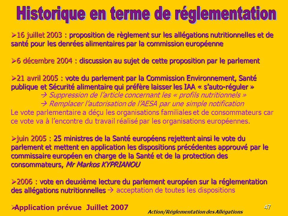 47 16 juillet 2003 : proposition de règlement sur les allégations nutritionnelles et de santé pour les denrées alimentaires par la commission européen