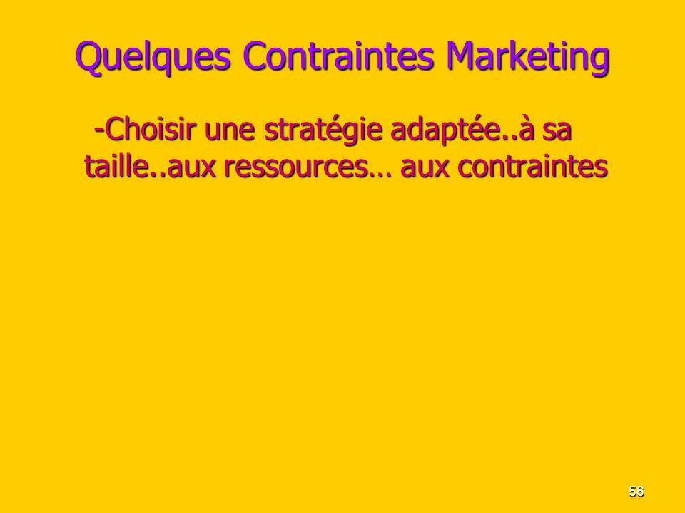 56 Quelques Contraintes Marketing -Choisir une stratégie adaptée..à sa taille..aux ressources… aux contraintes