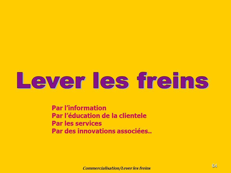 64 Commercialisation/Lever les freins Par linformation Par léducation de la clientele Par les services Par des innovations associées..