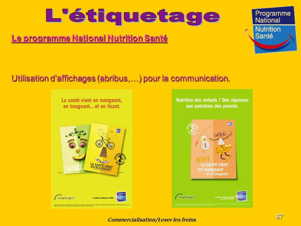 67 Le programme National Nutrition Santé Utilisation daffichages (abribus,…) pour la communication. Commercialisation/Lever les freins