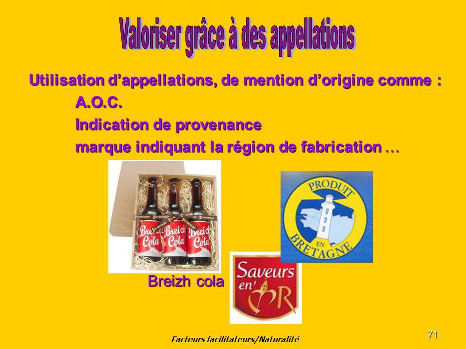 71 Utilisation dappellations, de mention dorigine comme : A.O.C. Indication de provenance marque indiquant la région de fabrication … Breizh cola Brei