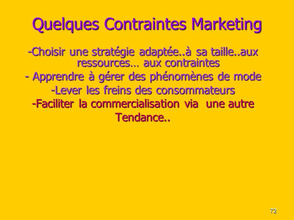72 Quelques Contraintes Marketing -Choisir une stratégie adaptée..à sa taille..aux ressources… aux contraintes - Apprendre à gérer des phénomènes de m
