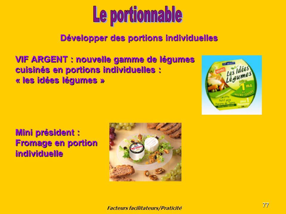 77 Développer des portions individuelles VIF ARGENT : nouvelle gamme de légumes cuisinés en portions individuelles : « les idées légumes » Mini présid