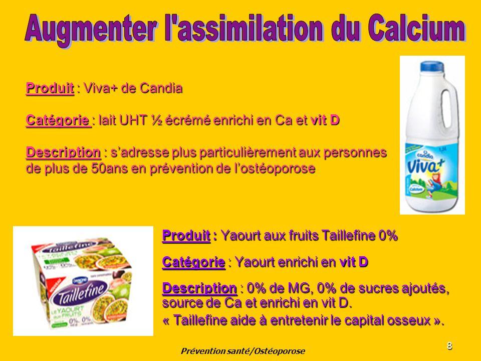 8 Produit : Viva+ de Candia Catégorie : lait UHT ½ écrémé enrichi en Ca et vit D Description : sadresse plus particulièrement aux personnes de plus de
