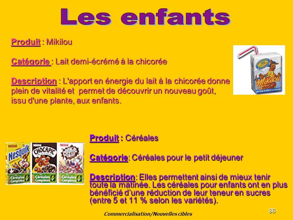 86 Produit : Céréales Catégorie: Céréales pour le petit déjeuner Description: Elles permettent ainsi de mieux tenir toute la matinée. Les céréales pou