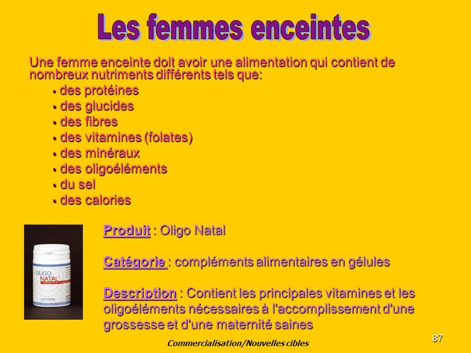 87 Une femme enceinte doit avoir une alimentation qui contient de nombreux nutriments différents tels que: des protéines des protéines des glucides de