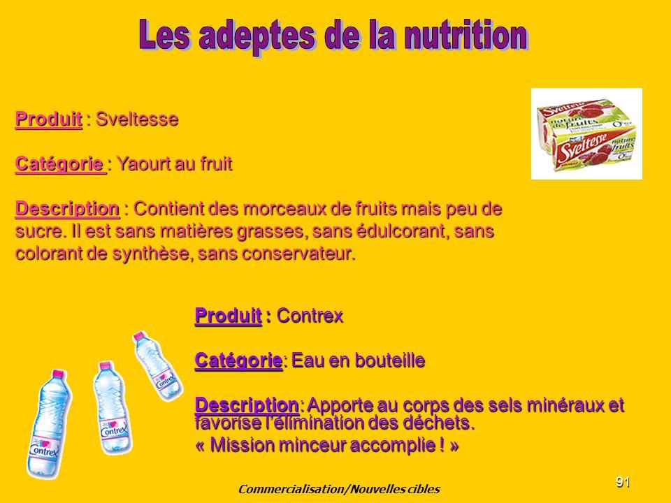 91 Produit : Sveltesse Catégorie : Yaourt au fruit Description : Contient des morceaux de fruits mais peu de sucre. Il est sans matières grasses, sans