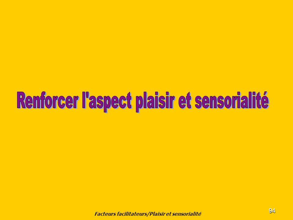 94 Facteurs facilitateurs/Plaisir et sensorialité