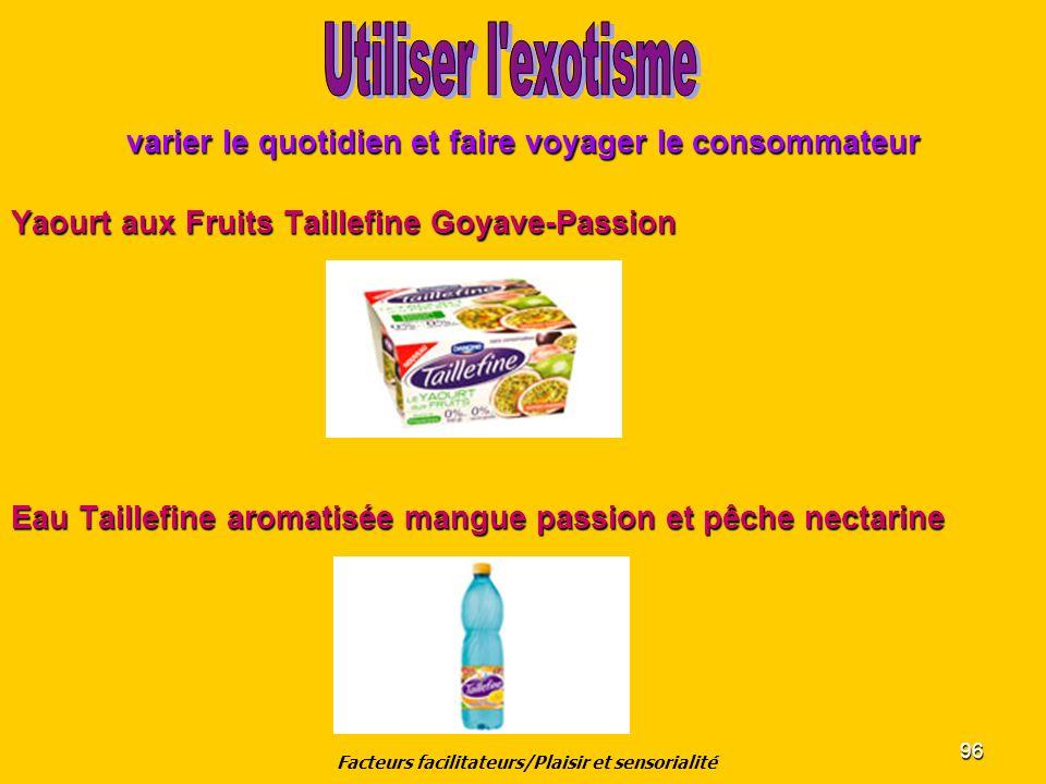96 varier le quotidien et faire voyager le consommateur Yaourt aux Fruits Taillefine Goyave-Passion Eau Taillefine aromatisée mangue passion et pêche