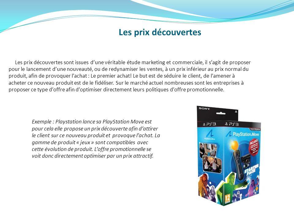Les prix découvertes Les prix découvertes sont issues dune véritable étude marketing et commerciale, il sagit de proposer pour le lancement dune nouve