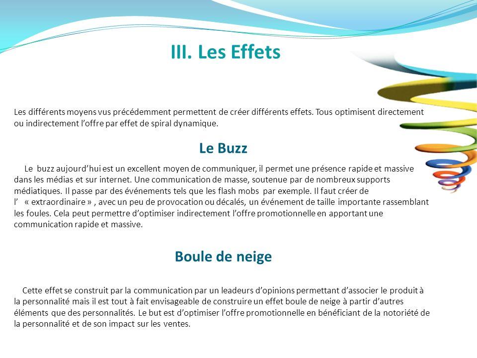 III. Les Effets Les différents moyens vus précédemment permettent de créer différents effets. Tous optimisent directement ou indirectement loffre par